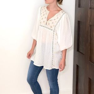 Free People, Embroidered White Bohemian Blouse